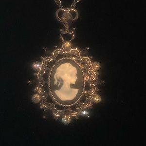 1928 Black Victorian Cameo Necklace